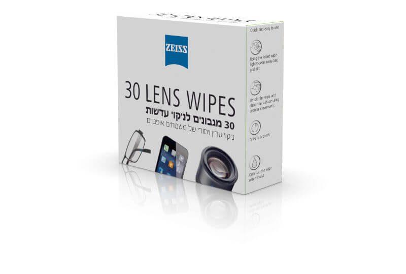 מסודר חדש בישראל: מגבוני ZEISS צייס ללא אלכוהול לניקוי עדשות משקפיים GL-88